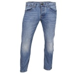 Straight Leg Washed Jeans Trouser With Contrast Hem - Blue