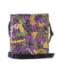Viva Las Gidi Messenger Bag - Yellow And  Dominant Ankara Purple