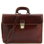 Tuscany+Leather+Parma+Two+Compartments+Leather+Briefcase+-+Brown
