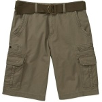 No Boundaries Big Men's Belted Twill Cargo Short Faded Green Colour