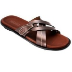 MarvG Cross Leather Slippers - Brown