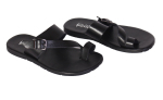 Finch Buckler Leather Slippers Black