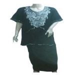 Guifuren Silver Sequin Black Short Sleeve Top & Wrapper