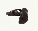 Men's Strap Leather Slippers - Black